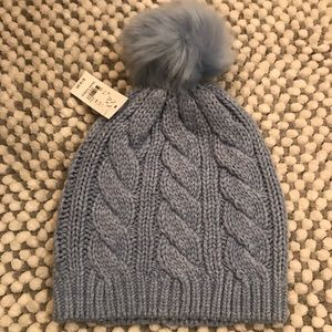 Cable Knit Hat with Pom